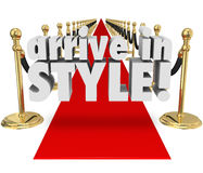Arrive in Style 3d Words Red Carpet Fashion Chic Glamour Entranc Royalty Free Stock Photography
