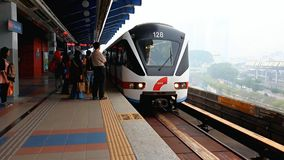 Arrive train to the station. At Kuala Lumpur, Malaysia stock video footage