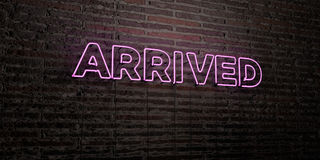 ARRIVED -Realistic Neon Sign on Brick Wall background - 3D rendered royalty free stock image. Can be used for online banner ads and direct mailers Royalty Free Stock Photos