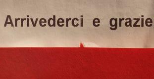 arrivederci ε grazie (σημαίνοντας σας δείτε πάλι και σας ευχαριστήστε στοκ εικόνες με δικαίωμα ελεύθερης χρήσης