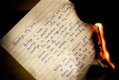 Arrivederci burning della lettera Immagini Stock
