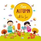 Arrivederci estate Ciao ragazze e ragazzi sorridenti felici di autunno royalty illustrazione gratis