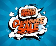 Arrivederci inverno, liquidazione, manifesto di stile di Pop art illustrazione vettoriale