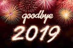 Arrivederci un fuoco d'artificio di 2019 scintille royalty illustrazione gratis
