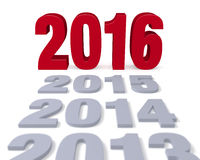 2016 Arrives. Preceding years in gray lead to a large, shiny red 2016 Focus is on 2016. Isolated on white stock illustration