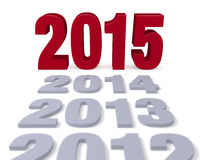 2015 Arrives. Preceding years in gray lead to a large, shiny red 2015!  Focus is on 2015.  on white Royalty Free Stock Photo