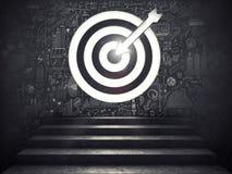 Arrivez à un but de succès les escaliers jusqu'à une cible rendu 3d illustration libre de droits