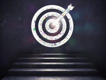 Arrivi ad uno scopo di successo le scale fino ad un obiettivo rappresentazione 3d Fotografia Stock Libera da Diritti