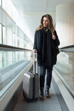 Arriving at the airport in winter Royalty Free Stock Image