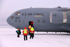 Arriving in Antarctica on a C17. Passengers arriving at McMurdo, the main American base in Antarctica, aboard a United States Air Force C17 Royalty Free Stock Images