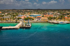 Arriving at Bonaire. Capture from Ship at the Capital of Bonaire, Kralendijk in this beautiful island of the Ccaribbean Netherlands, with its paradisiac beaches stock photos