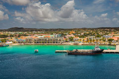 Arriving at Bonaire. Capture from the Ship arriving at the Capital of Bonaire, Kralendijk in this beautiful island of the Netherlands Caribbean , with its Stock Images