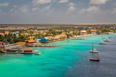 Arriving at Bonaire. Capture from the Ship arriving at the Capital of Bonaire, Kralendijk in this beautiful island of the Netherlands Caribbean , with its Stock Photo