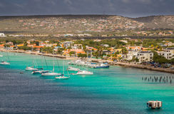 Arriving at Bonaire. Capture from the Ship arriving at the Capital of Bonaire, Kralendijk in this beautiful island of the Netherlands Caribbean , with its Royalty Free Stock Photos