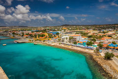 Arriving at Bonaire. Capture from the Ship arriving at the Capital of Bonaire, Kralendijk in this beautiful island of the Netherlands Caribbean , with its Royalty Free Stock Image