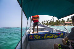 Arriving in the caribbean paradise of San Blas Islands Stock Images