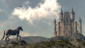 Arriving at the castle - 3D render Royalty Free Stock Photos