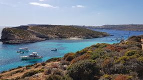 Blue Lagoon in Comino. Arriving in Comino. Blue lagoon. Beach on mediterrean sea. paradise in Malta. View of cominotto Stock Photography