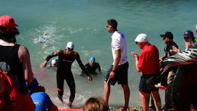 Arriving at the edge of triathletes at the end of the swim leg. Swimmers coming to shore in a triathlon stock footage