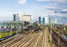 Arriving in Frankfurt am Main by Train Royalty Free Stock Photography