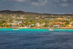 Arriving at Kralendijk, Bonaire. Capture from Ship at the Capital of Bonaire, Kralendijk in this beautiful island of the Caribbean Netherlands, with its stock photography