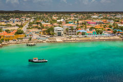 Arriving at Kralendijk, Bonaire. Capture from Ship at the Capital of Bonaire, Kralendijk in this beautiful island of the Caribbean Netherlands, with its royalty free stock images