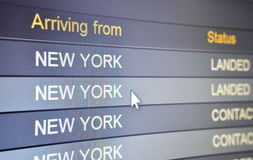 Arriving from New York stock photos