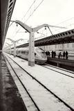 Arriving on the platform fast train to Moscow railway station Royalty Free Stock Images