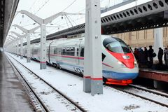 Arriving on the platform fast train to Moscow railway station, Stock Photos