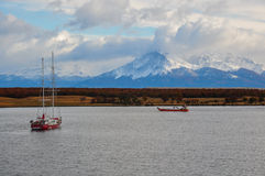 Arriving at Puerto Natales, Southern Chile Stock Photography