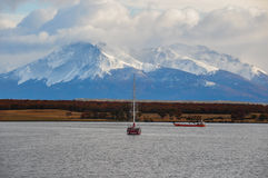 Arriving at Puerto Natales, Southern Chile Royalty Free Stock Photo