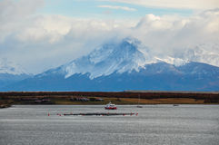 Arriving at Puerto Natales, Southern Chile Royalty Free Stock Image