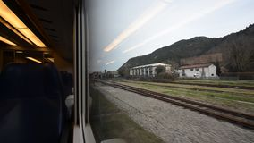 Arriving at the small station in the middle of the mountains. Marradi, Italy - December 24, 2016: Arriving at the small station in the middle of the mountains stock footage