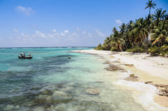 Arriving to a perfect untouched wild caribbean beach at San andr Royalty Free Stock Images