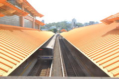 Arriving Train. At Guandu Train Station at Taipei Royalty Free Stock Image