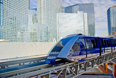 Arriving Tram. Monorail tram approaches the station at CityCenter complex in Las Vegas, Nevada royalty free stock photography