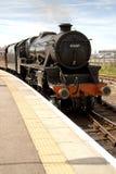 Arrivo del treno del vapore Fotografie Stock Libere da Diritti