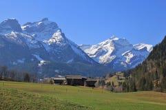 Arrivo della molla a Gsteig bei Gstaad Immagine Stock Libera da Diritti