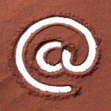 Arroba που επισύρεται την προσοχή στη σκόνη κακάου Στοκ εικόνα με δικαίωμα ελεύθερης χρήσης