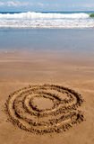 Arroba na areia 2 Fotos de Stock