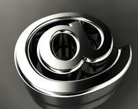 Arroba symbol. 3d image of metal arroba symbol stock illustration