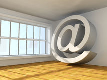 Arroba symbol. Surreal 3d image of symbol of internet  in interior Stock Photos