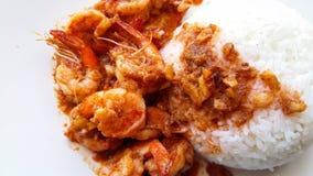 Arroces de los alimentos de preparación rápida con el camarón Imagen de archivo libre de regalías