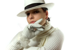 Arrogance. White dressed woman Stock Images