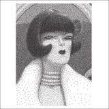 Arrogant jong vrouwen halftone portret Royalty-vrije Stock Afbeelding