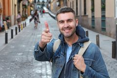 Arrogant man pointing at camera.  royalty free stock image