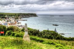 Arromanches-les-Bains - mulberry harbour D-Day royalty free stock photo