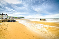 Arromanches les Bains, Normandy, France. seafront beach and rema Stock Photography