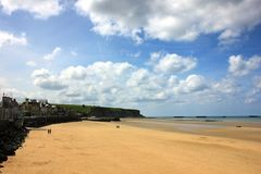 Arromanches les bains in normandy. A place between history and nature royalty free stock image