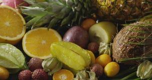 Arrosage des fruits organiques naturels frais avec des palmettes Fond fruité exotique de vegan Mouvement, vidéo de 4K UHD, 3840 banque de vidéos